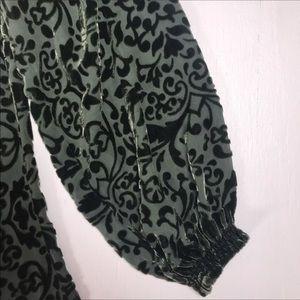 Sundance Tops - Sundance blouse XS green velvet sheer tassel top